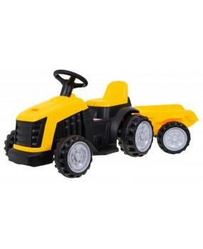 Elektrický traktor s vlečkou žltý
